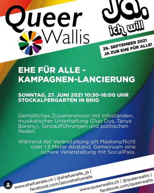 Kampagnen-Lancierung «Ehe für Alle» (QueerWallis, 27. Juni)